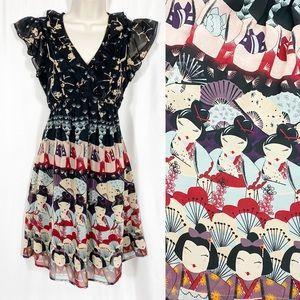 ModCloth Yumi Geisha Girl Novelty Print Dress